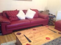 Red Leather sofa, chair and large pouffe