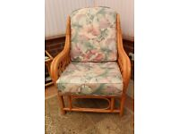 Cane chair upholstered