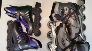 Pair of used mens and womens rollerblades