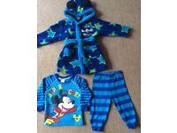 Disney Mickey Mouse Dressing Gown & PJ Set 9 - 12 Months - Bargain £4
