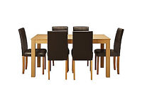 New Elmdon Oak Stain Dining Table & 6 Chocolate Chairs.