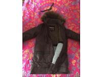 SUPERDRY Limited Double Black Label Mens Parka Jacket Hood Rain XL