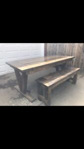 New farmhouse dining table and 1 bench