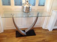 2 X Contemporary Glass Top Console Table