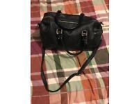 Ladies clarks black faux leather handbag ex con barely used .