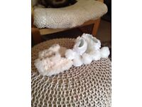 2 pairs of fur boots & flower hat