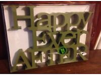 new Dunelm mill happy ever after wooden ornament.