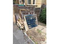Spare pallets and off cuts of wood
