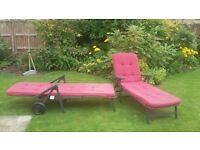 Reclining sunbeds with cushions - good condition.