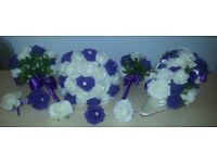 Cadbury Purple/Ivory foam flowers