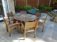 Acacia wooden garden table & 6 chairs