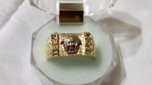 Bague homme or jaune medusa VERSACE 10K mens gold diamond ring