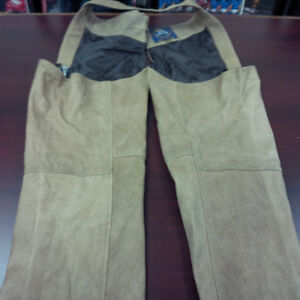 MOTORCYCLE LEATHER RIDING CHAPS-TAN