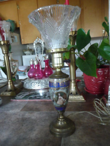 Lovely Vintage French Enameled Painted Metal Dresser/ Table Lamp