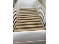 Mothercare white wooden cot with mattress