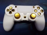 custom ps4 controller white and gold