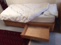 Single pine bed and mattress with storage drawers