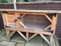 Outdoor hutch for one rabbit or two guinea pigs