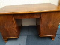 Antique Desk Home Office Furniture Cupboard Glass Top 1300mm wide x 700mm deep Prop Theatre