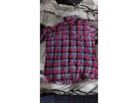 Used UK Medium Topman Check Flannel Pink Blue Red Turquoise Black Purple Shirt Gingham Short Sleeve