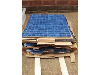 Blue and white mosaic tiles Emaux de Briare