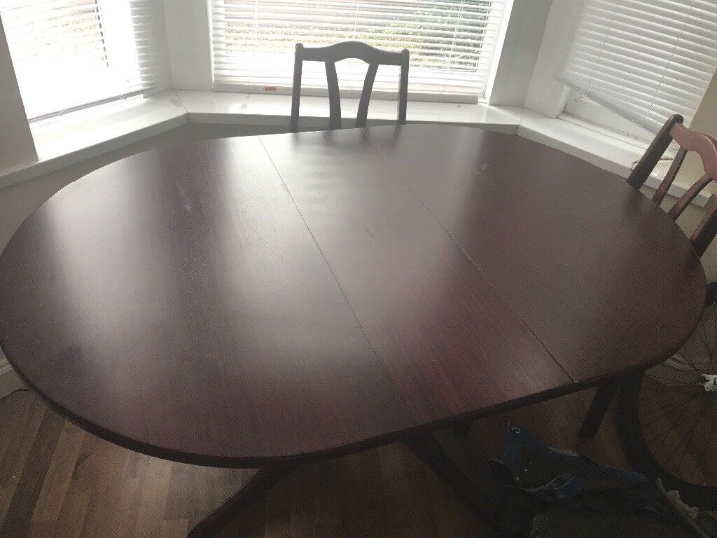 Solid Hardwood 6 Seater Dining Table Drop Leaf To Fold Down