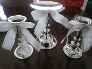 Wedding Silverplated set of 3 candle holders