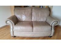 2 x 2 seater Reid Beige Leather Sofas. Good condition