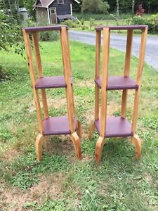 Refinished wine colored plant stands or end tables