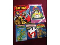 Batman, duckula, ninja turtles and ghost busters books