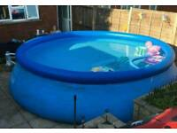 15ft Pool with cover no pump down and ready to go.just needs a tiny clean on outside