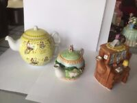 Various decorative teapots , 3 large and 6 small