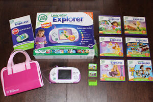 Leapster Explorer & 8 games & carrying case