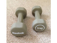 PAIR of REEBOK 3KG Dumbbell Weights