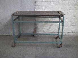 Heavy Duty metal work bench on casters
