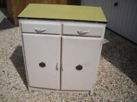 retro wooden kitchen cabinet with formica top and 2 drawers and cabinets