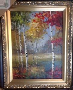 25in x 21in framed art print - Birches