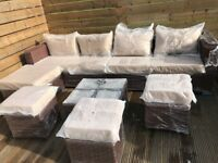 Yakoe Papaver 8 seater outdoor garden sofa set with table, brown and tan - delivery available