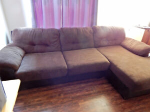 """3 section brown """"suede"""" sectional for sale-LIKE NEW"""