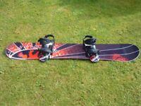 Snowboard and Burton Bindings