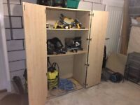 Old Wardrobe - turned garage storage - very solid, made out of thick wood