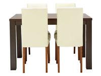 HOME Pemberton Walnut Veneer Dining Table & 4 Chairs - Cream