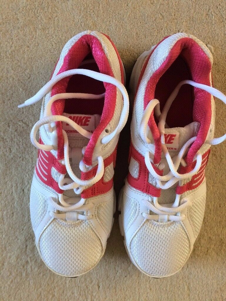 Nike Running Trainersin Leatherhead, SurreyGumtree - Ladies Nike Running Trainers Size 3 (UK), 36 (Eur) Only worn a couple of times Excellent Condition White with pink trim and silver tick