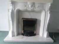 Fireplace marble surround & Electric fire