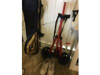 Junior Golf bag, trolley and shoes