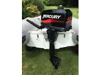 Mercury 5hp Outboard . Very lightly used as spare engine , fully serviced