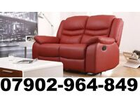 2+2 SEATER BRAND NEW LEATHER RECLINER SOFAS IN RED 1