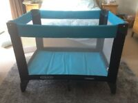 Graco Travel Cot - blue; used, in good condition