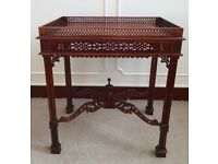 Chinese Chippendale Pierced Fretted Gallery 19th C Mahogany Revival Silver Table