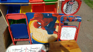 Spiderman table with 2 chairs, and toy tool bench